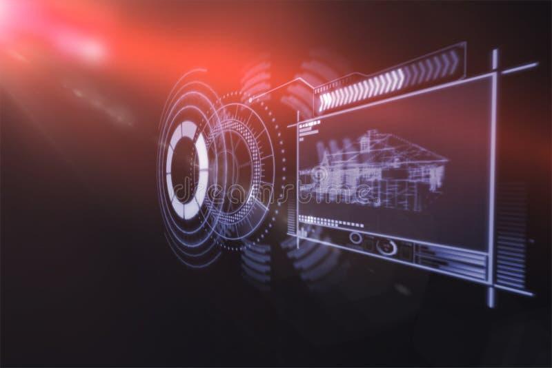 Imagen generada Digital del interfaz de dispositivo con los gráficos 3d imagen de archivo libre de regalías