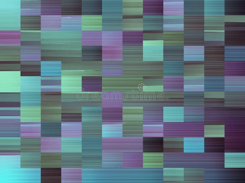 Imagen generada por ordenador abstracta con rectángulos multicolores en tonalidades de azul, de verde, y el color de malva ilustración del vector