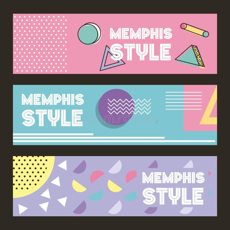 Imagen geométrica horizontal del pastel del color de la bandera del modelo del estilo de Memphis libre illustration