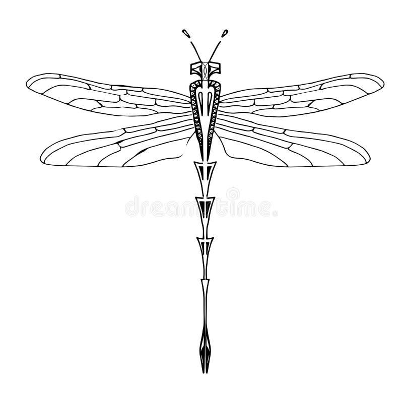 Imagen gráfica de la idea del diseño de la libélula libre illustration