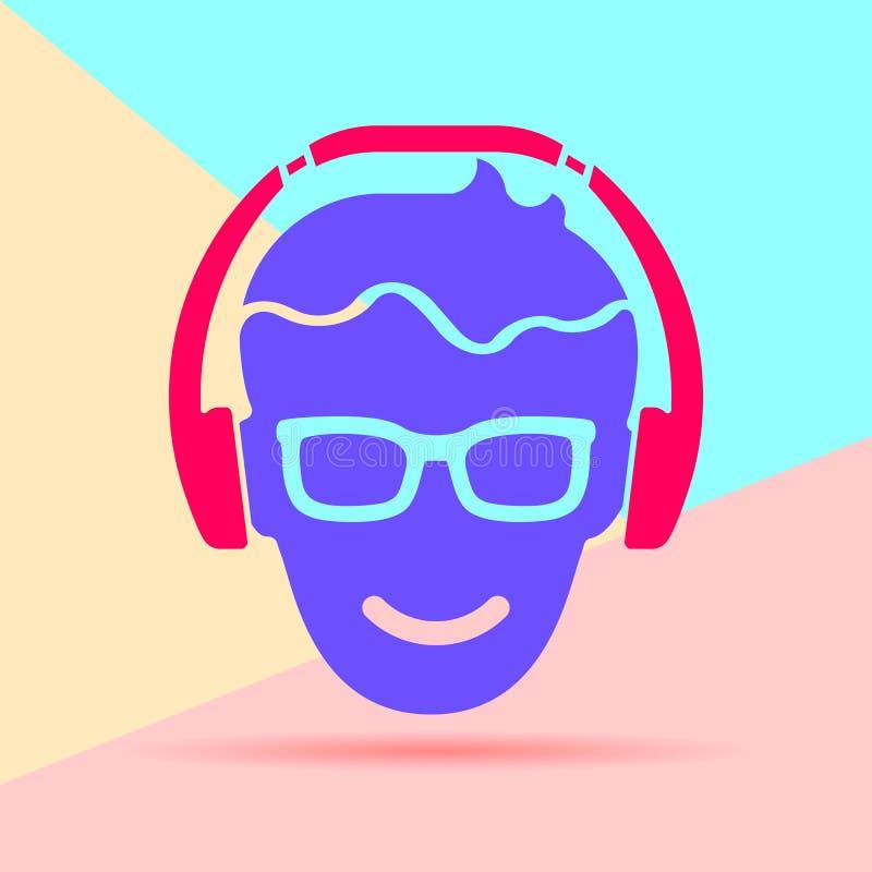 Imagen gráfica del diseño plano del arte moderno de la cabeza del hombre con los vidrios libre illustration