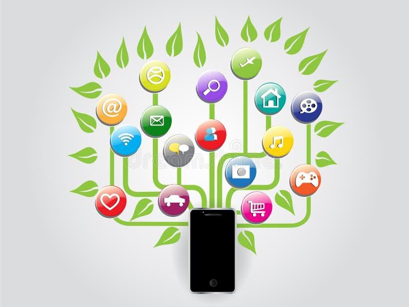 Imagen gráfica del vector de los medios del árbol de Smartphone de la información plana social del establecimiento de una red ilustración del vector