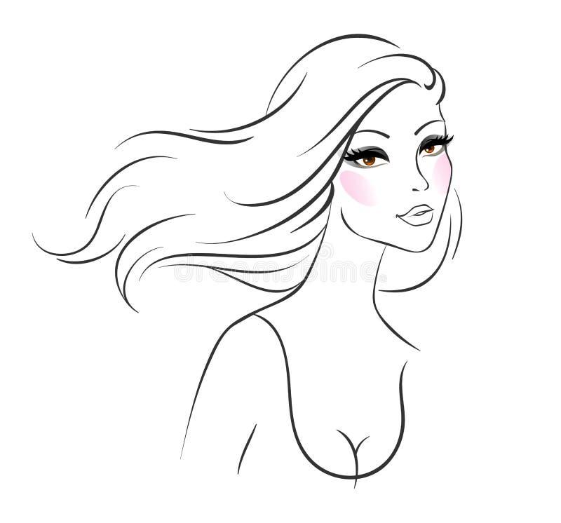 Imagen hermosa de la mujer ilustración del vector