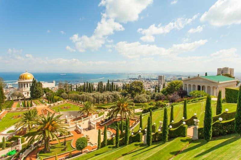 Imagen hermosa de los jardines de Bahai en Haifa Israel fotografía de archivo libre de regalías