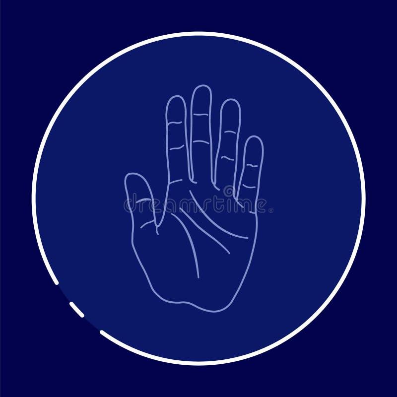 Imagen/icono/logotipo de la lectura de la palma Ejemplo del arte stock de ilustración