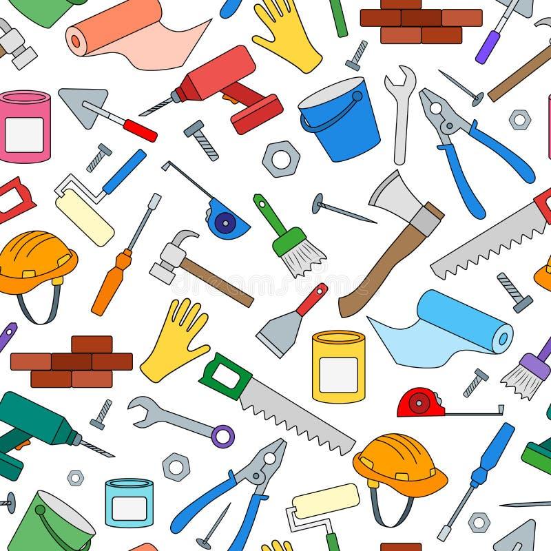 Imagen inconsútil en el tema de la construcción y reparación, iconos simples del color en el fondo blanco stock de ilustración