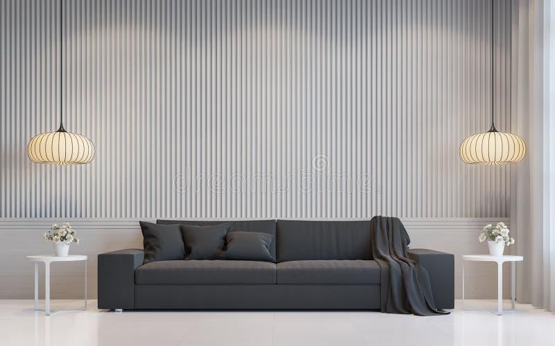 Imagen interior de la representación 3d de la sala de estar blanca moderna libre illustration