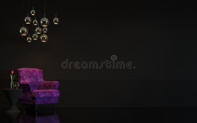 Imagen interior de la representación 3d de la sala de estar negra de lujo moderna ilustración del vector