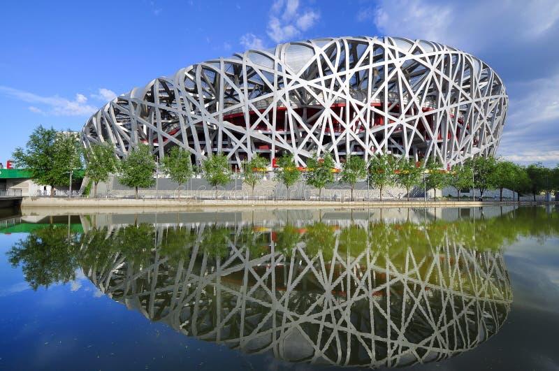 Imagen invertida del estadio nacional de Pekín foto de archivo libre de regalías