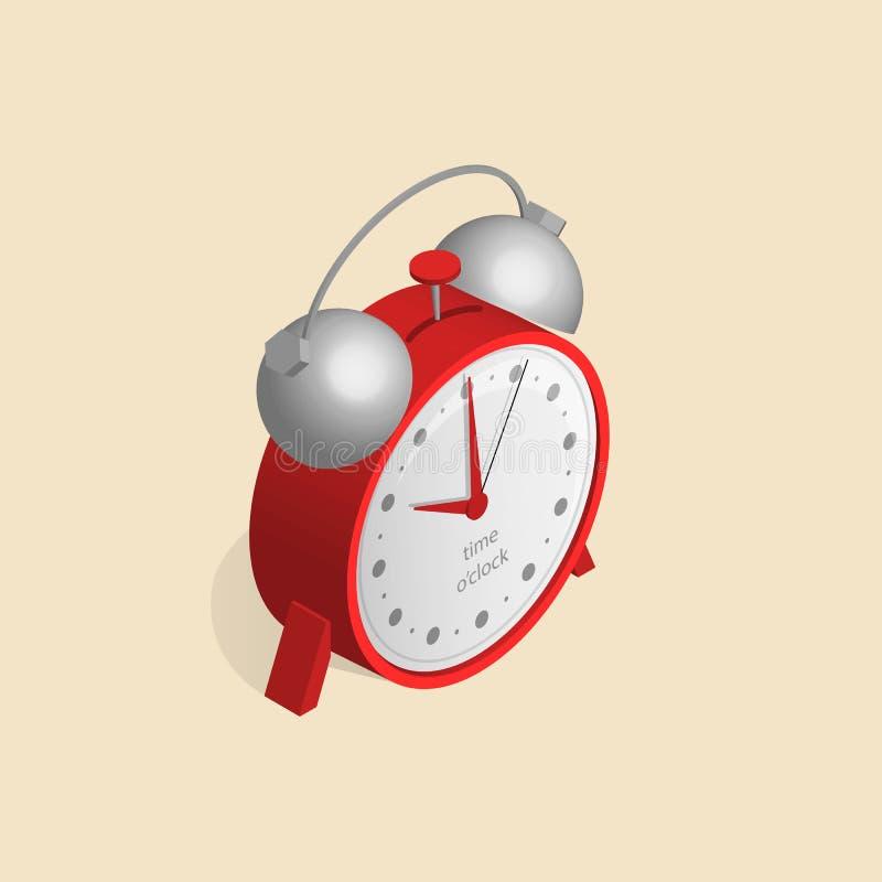 Imagen isométrica de relojes viejos con el reloj en un estilo retro stock de ilustración