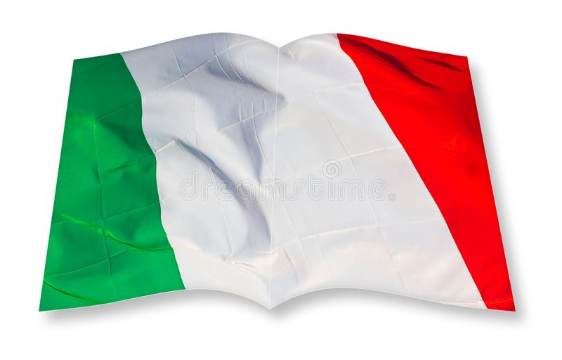 Imagen italiana verde, blanco y rojo del concepto de la bandera - imagen del concepto de la representación 3D de un libro abierto imagen de archivo libre de regalías