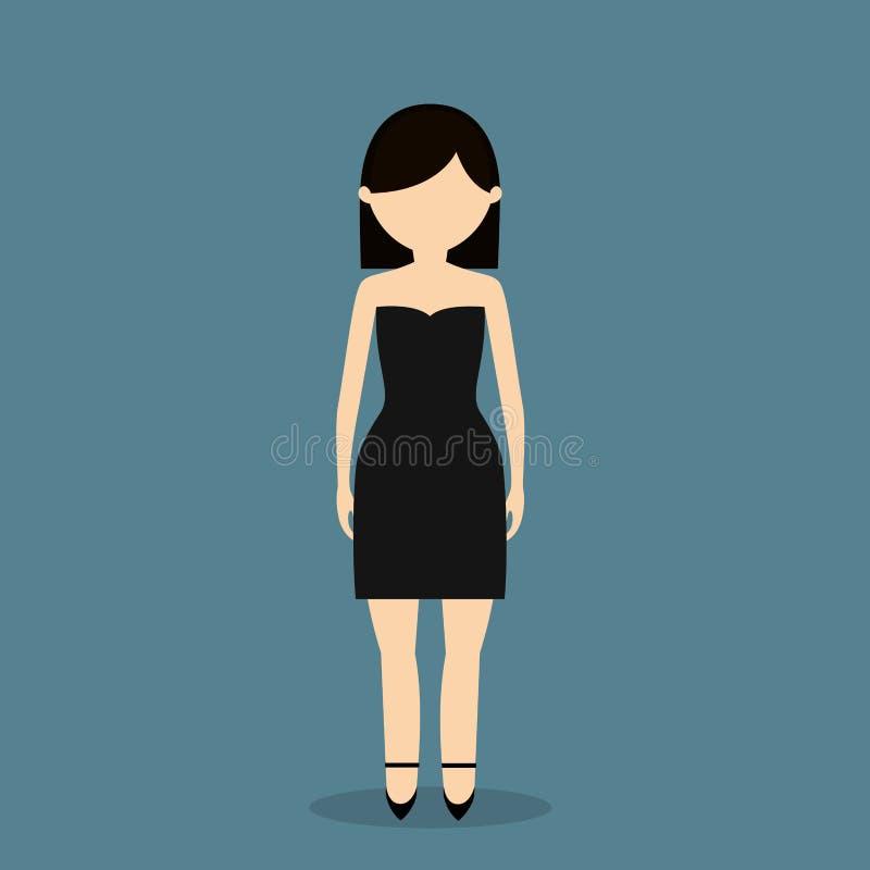 imagen joven del icono de la mujer de moda stock de ilustración