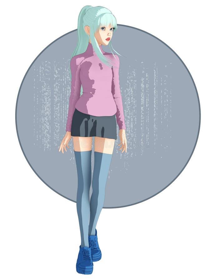Imagen linda y bastante integral de una muchacha en arte del estilo del animado libre illustration