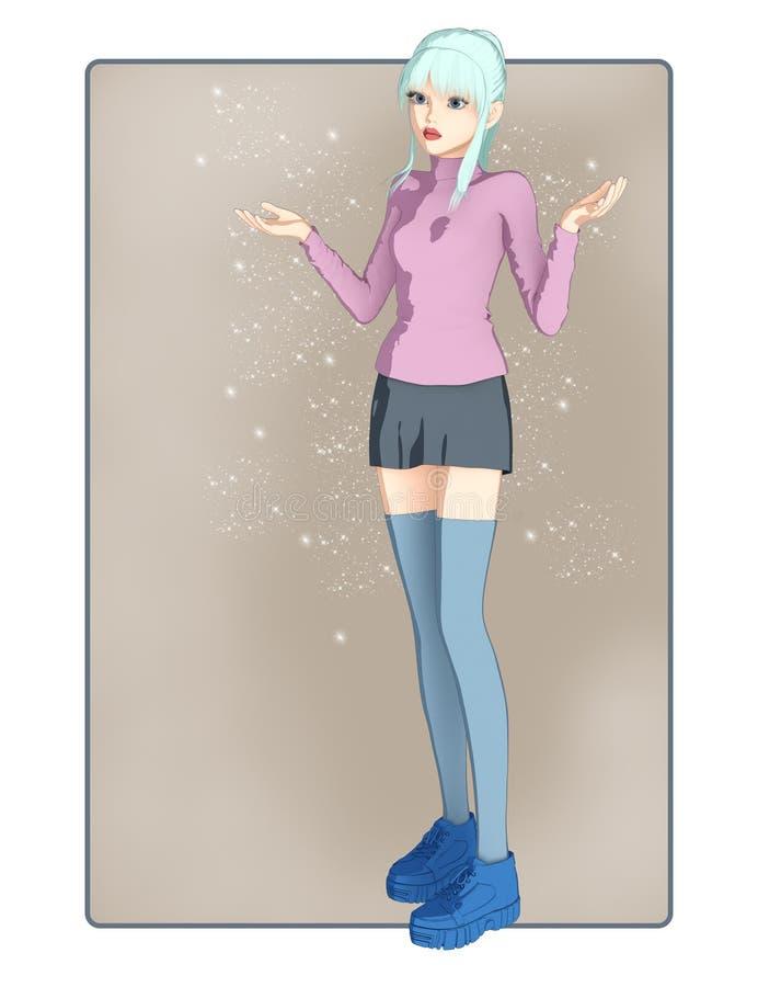 Imagen linda y bastante integral de una muchacha en la línea estilo dibujado libre illustration