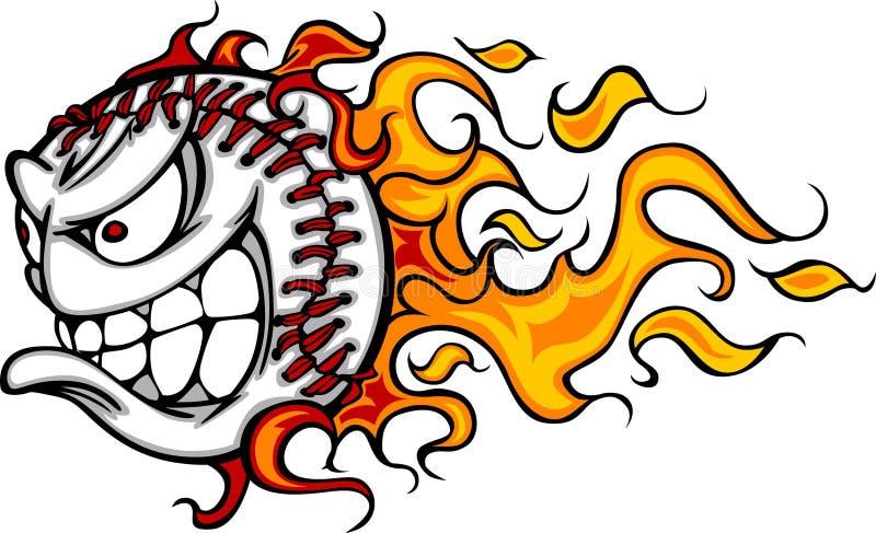 Imagen llameante del vector de la cara de la bola del béisbol stock de ilustración