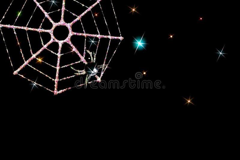 Imagen mágica de la tarjeta de Navidad de la decoración escarchada del web de araña imagenes de archivo