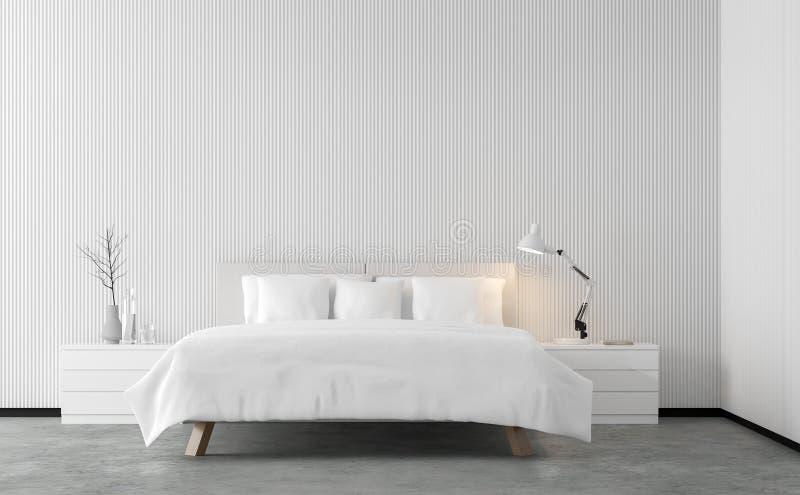 Imagen mínima de la representación del dormitorio 3d del estilo con el enrejado de madera blanco libre illustration
