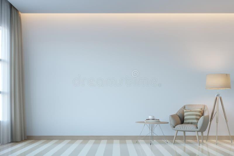Imagen mínima de la representación del estilo 3D de la sala de estar blanca moderna ilustración del vector