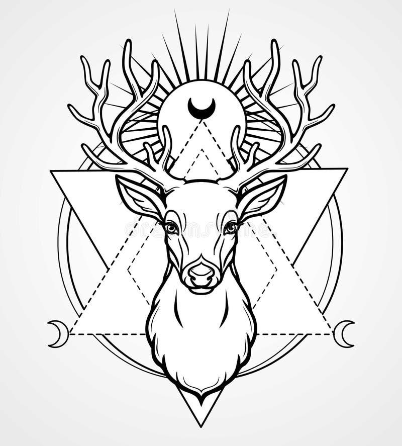 Imagen mística de la cabeza de un ciervo de cuernos, geometría sagrada, símbolos de la luna stock de ilustración