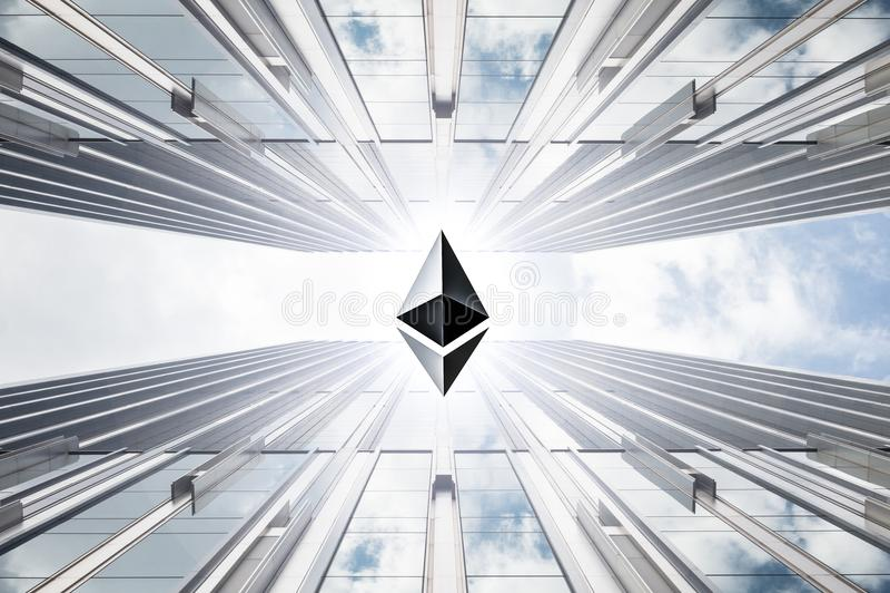 Imagen mezclada que son moneda crypto del ethereum y edificio del negocio libre illustration