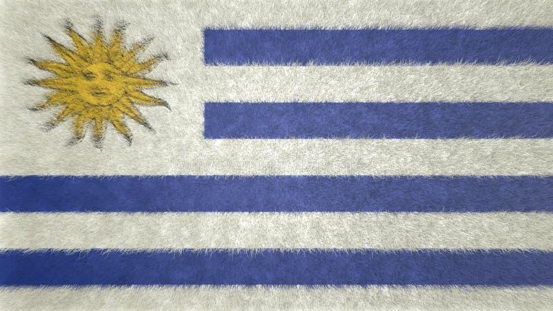 Imagen original 3D de la bandera de Uruguay stock de ilustración