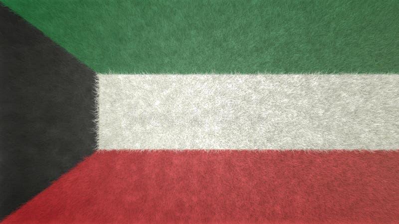 Imagen original de la textura 3D de la bandera de Kuwait stock de ilustración