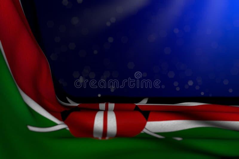 Imagen oscura maravillosa de la bandera de Kenia que miente en esquina en fondo azul con el foco selectivo y del lugar vacío para stock de ilustración