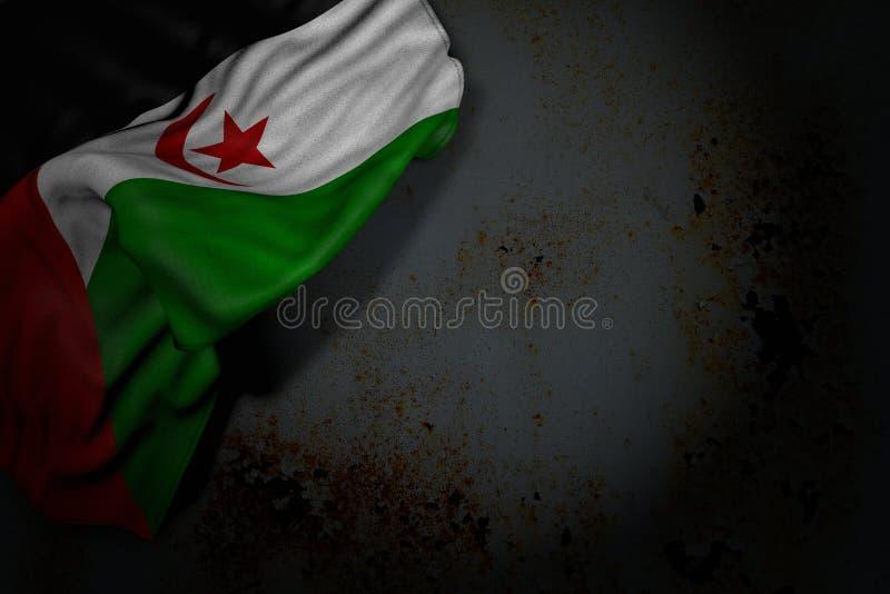 Imagen oscura maravillosa de la bandera de Western Sahara con los dobleces grandes en el metal oxidado con el espacio libre para  ilustración del vector