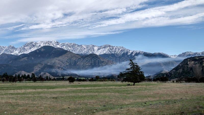 Imagen pacífica del paisaje del campo de la montaña y de hierba de la nieve fotografía de archivo