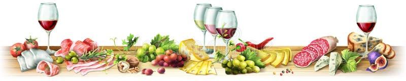 Imagen panorámica de la carne ahumada, de salchichas, del queso y del vino watercolor ilustración del vector