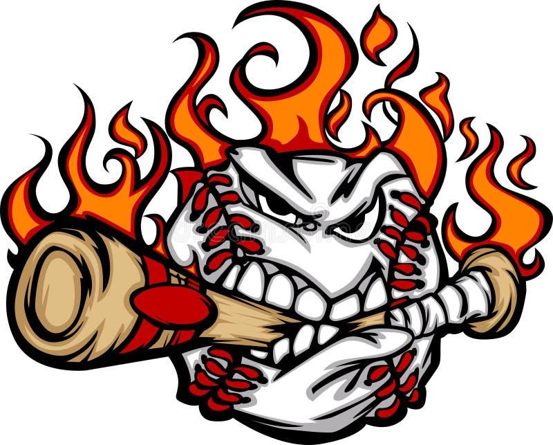 Imagen penetrante del vector del palo del béisbol de la cara llameante de la bola stock de ilustración