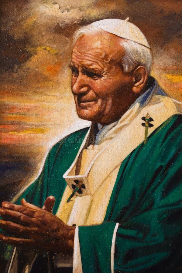 Imagen pintada de papa Juan Pablo II foto de archivo libre de regalías