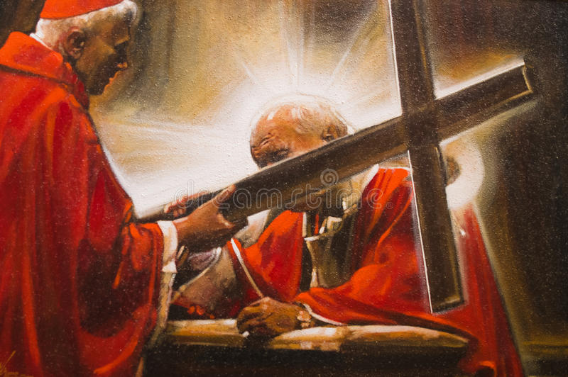 Imagen pintada de papa Juan Pablo II foto de archivo