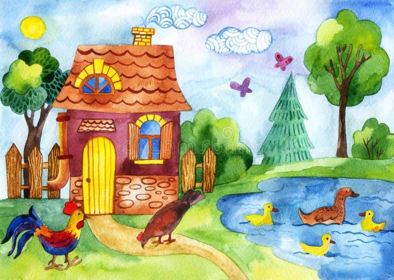 Imagen pintada a mano de la casa ilustración del vector