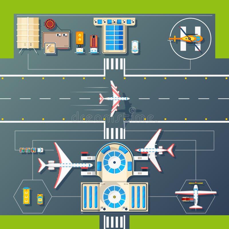 Imagen plana de la opinión superior de las pistas del aeropuerto ilustración del vector