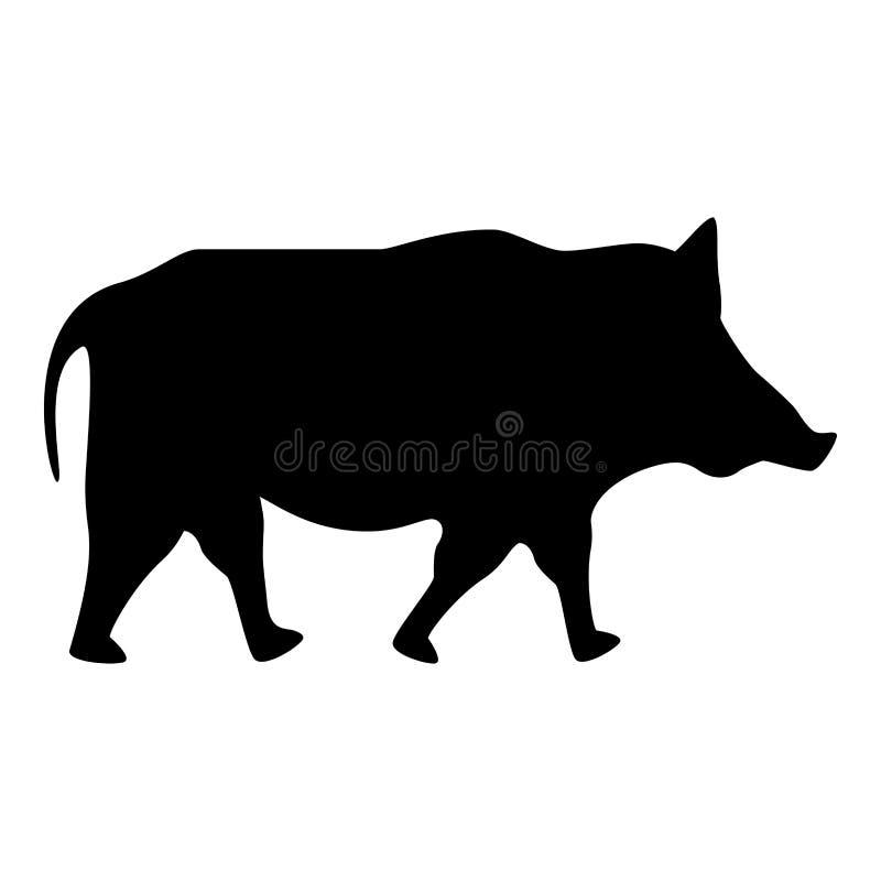 Imagen plana del estilo del cerdo del jabalí del cerdo del facoquero del icono del negro del color del ejemplo salvaje del vector stock de ilustración