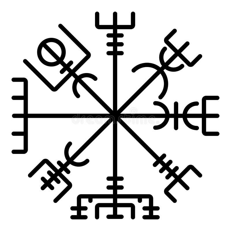 Imagen plana del estilo del compás de Vegvisir del galdrastav de la navegación del compás del símbolo del icono del negro del col stock de ilustración