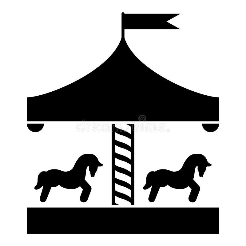 Imagen plana del estilo del ejemplo del vector del color del negro del icono del tiovivo del vintage del tiovivo del cruce girato stock de ilustración