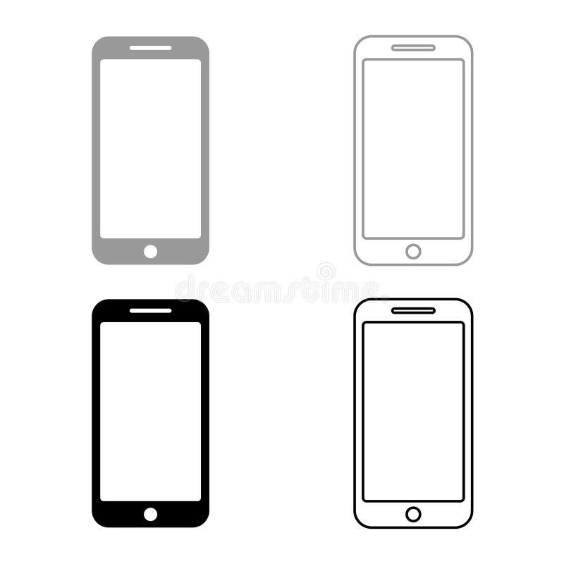 Imagen plana del estilo del ejemplo del vector del color del negro del sistema del icono de Smartphone stock de ilustración