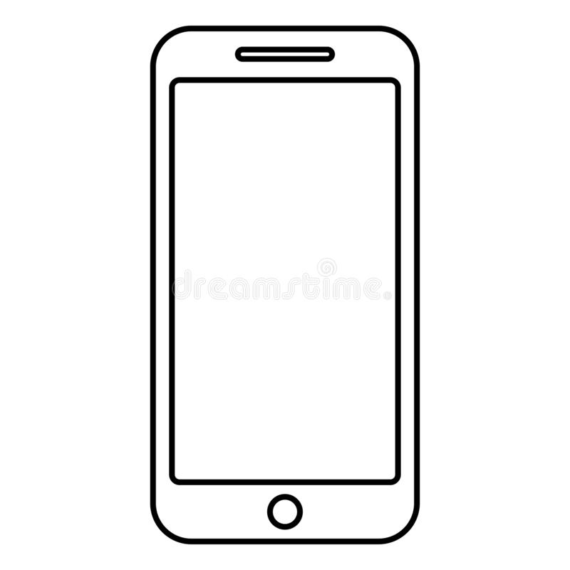 Imagen plana del estilo del ejemplo del vector del esquema del color del negro del icono de Smartphone stock de ilustración