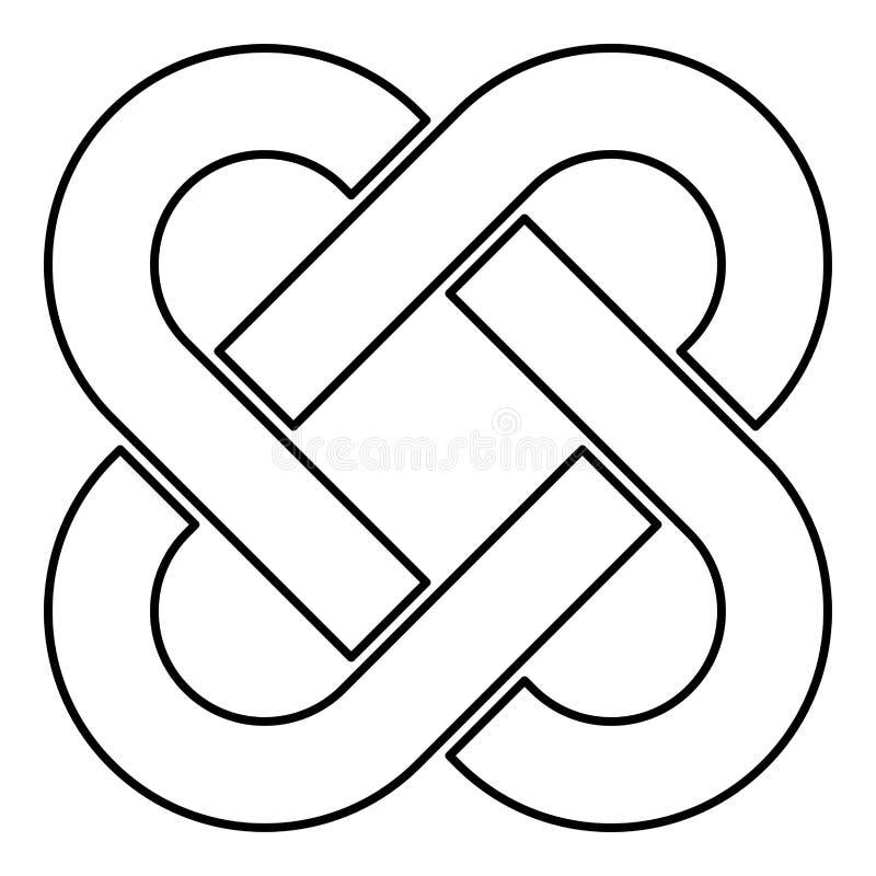 Imagen plana del estilo del nudo del icono del esquema del negro del color del ejemplo céltico del vector ilustración del vector
