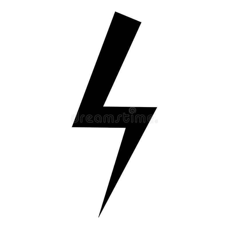 Imagen plana del estilo del rayo de la energía eléctrica del rayo del icono del negro del color del ejemplo de destello del vecto stock de ilustración