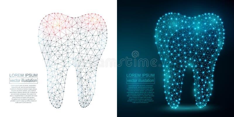 Imagen poligonal del extracto del diente Wireframe polivinílico bajo libre illustration