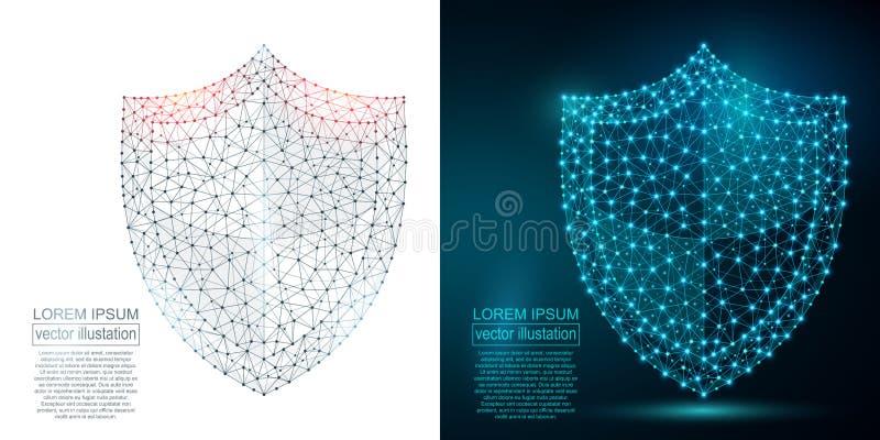 Imagen poligonal del extracto del escudo de la seguridad polivinílico bajo ilustración del vector