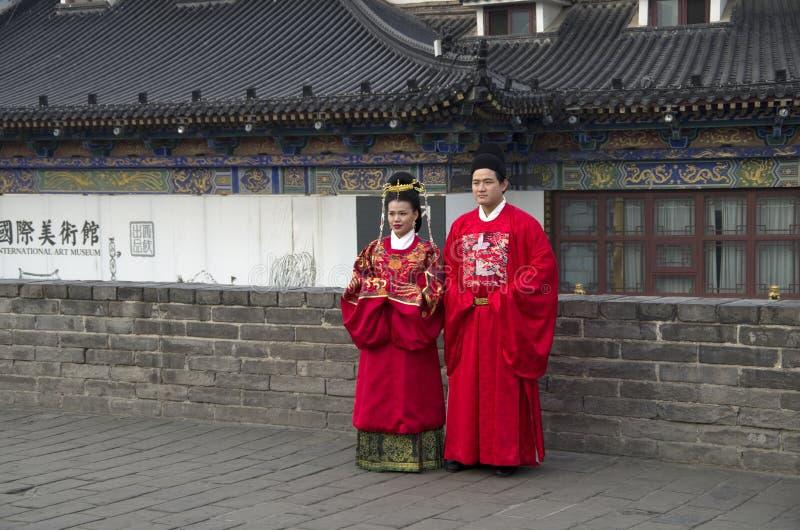 Imagen que se casa china en la pared Xi'an de la ciudad antigua imagen de archivo libre de regalías