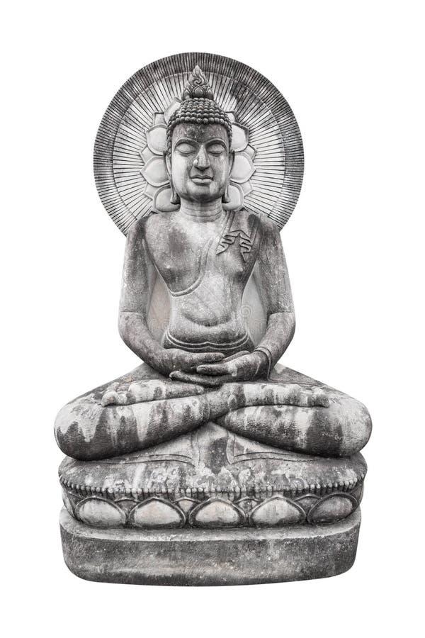 Imagen que se sienta de Buda con la estatua del halo aislada en el fondo blanco imagenes de archivo