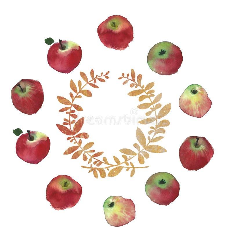 Imagen rústica de la boda de las manzanas de la acuarela de frutas Textura natural de la pintura del chapoteo de la acuarela stock de ilustración