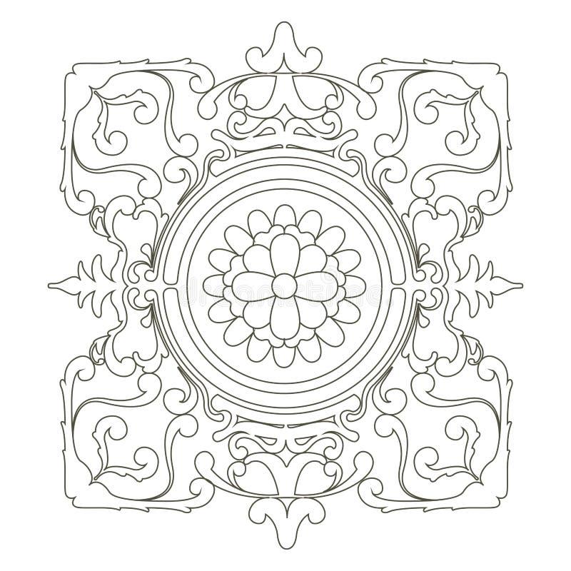 Imagen ?rabe aislada del mehndi de las flores mandala stock de ilustración