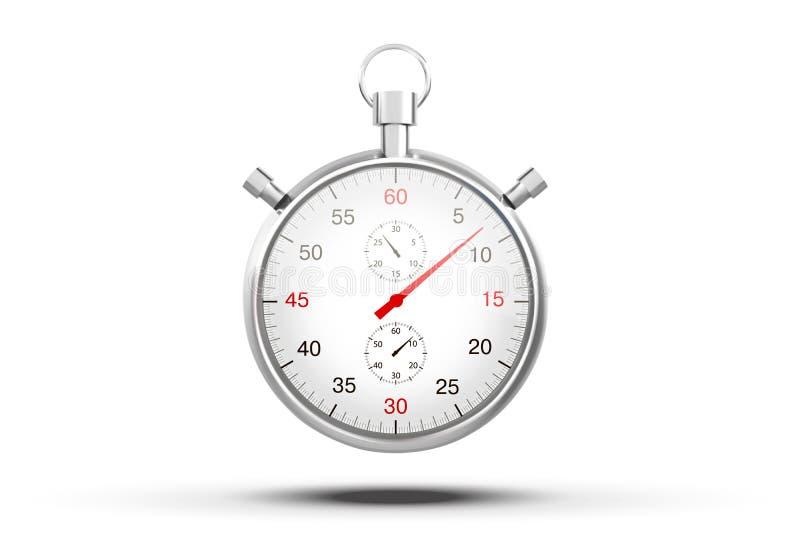 Imagen realista de un cronómetro de los deportes Competencia del símbolo Icono aislado en el fondo blanco Ilustración común del v ilustración del vector