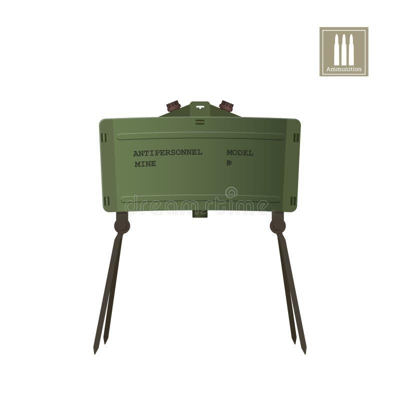 Imagen realista detallada de la mina antipersonal Explosivo del ejército Icono del arma Objeto militar ilustración del vector